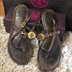 Tory Burch brown leather sandals size 8 1/2